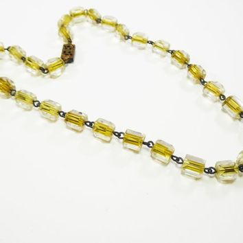 Venetian Glass Beads Necklace, Art Glass Beaded Choker, Clear to Yellow Italian Beads, Vintage 1930's 1940's, European Art Deco Era Jewelry