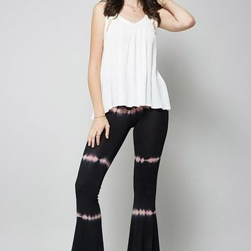 Black Tie Dye Bell Bottom Pants