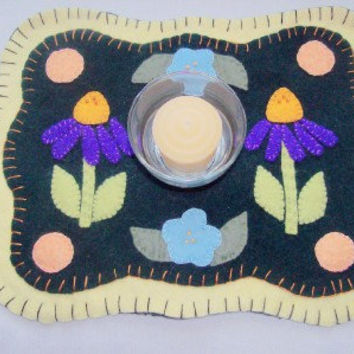 Wool Candle mat Table center piece Wool applique Embroidery Jar mat spring decor handmade