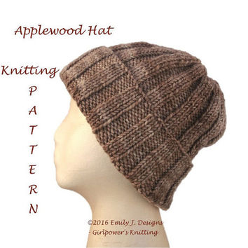 Ribbed Beanie Knitting Pattern, Knit Hat Pattern, Quick Easy Pattern, Malabrigo Twist Aran, Kids Teens Women Men