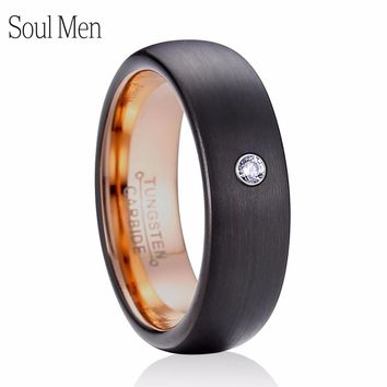 6mm Women's CZ Stone Ring Comfort Fit Black with Rose Gold Color Tungsten Wedding Band Best Valentine's Gift US Size 6 to 10.5
