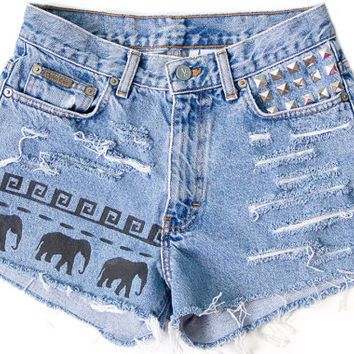 Tribal Aztec Elephant Waves Studded Ombre Bleached Shorts Hand Painted Vintage Distressed High Waisted Denim Boho Hipster Small Medium W28