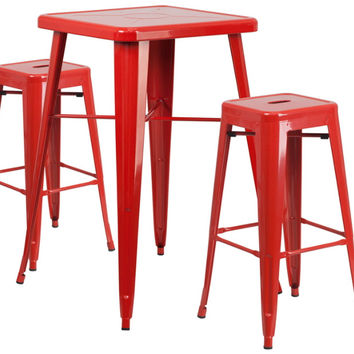 23.75'' Square Red Metal Indoor-Outdoor Bar Table Set with 2 Square Seat Backless Barstools