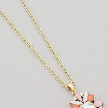 Long Floral Pendant Chain - Pink