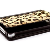 Apple Iphone Pu Leather Wallet Case Cover for Iphone 4 / Iphone 4s Zebra Stripe / Leopard Print Leather Protective Case (Leopard Print)
