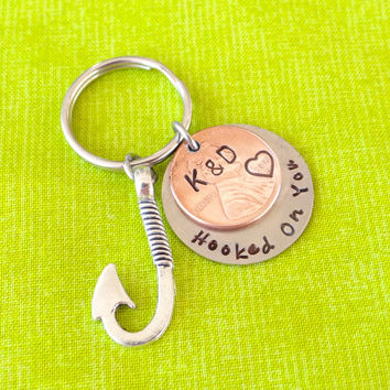 Custom Hooked On You Anniversary Keychain