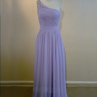 one shoulder long purple rhinestones elegant bridesmaid dress | Cheap full length Sale