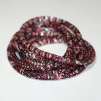 Shiraz ... Bead Crochet Rope . Necklace . Bracelet . Monochromatic . Wine . Burgundy . Maroon . Luscious . Fashionable Accessory . Stylish