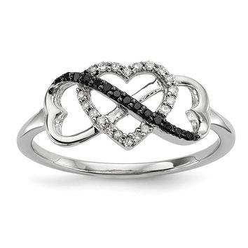 Sterling Silver Black & White Diamond Triple Infinity Heart Ring