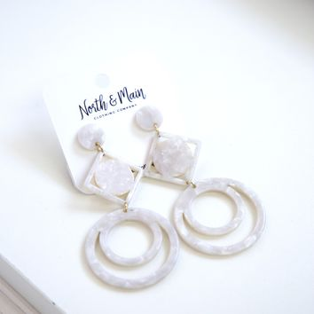 Geometric Drop Earrings, White