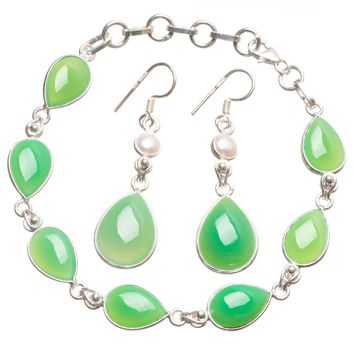 """Natural Chrysoprase River Pearl Mexican 925 Sterling Silver Jewelry Set, Earrings:2"""" Bracelet:7-8"""" T8861"""