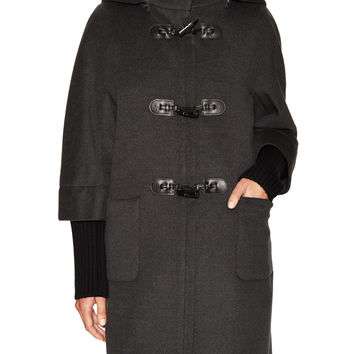 Cinzia Rocca Women's Wool 3/4 Sleeve Toggle Coat - Grey -