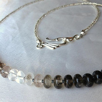 Dainty and simple, ombré tourmalated quartz necklace. Long, layering necklace. Black, white & silver tourmaline. October birthstone.