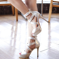 Crossed Ankle Strap Sandals Stilettos High Heels