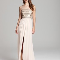 Aidan Mattox Strapless Gown - Beaded Bodice