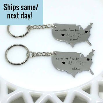 Long Distance Relationship, Long Distance Friendship, Engraved Keychain, Long Distance Keychain, Boyfriend Gift, United States Keychain