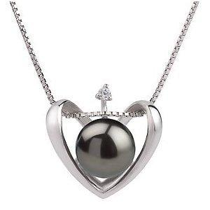 PearlsOnly Heart Black 9.0-9.5mm AA Cultured Freshwater Sterling Silver Pearl Pendant