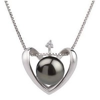 Heart Black 9-10mm AA Quality Freshwater 925 Sterling Silver Pearl Pendant