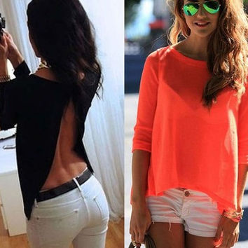 2016 Trending Fashion Summer Backless Long Sleeve Round Necked Sexy Criss Cross Back T-Shirt Top