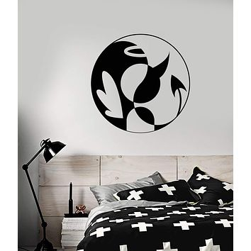 Vinyl Wall Decal Yin Yang Symbol Buddhism Angel And Bemon Stickers (2977ig)