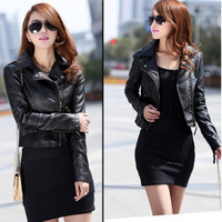 Women Girls PU Leather Slim Casual Motorcycle Biker Zipper Jackets Coats Outwear