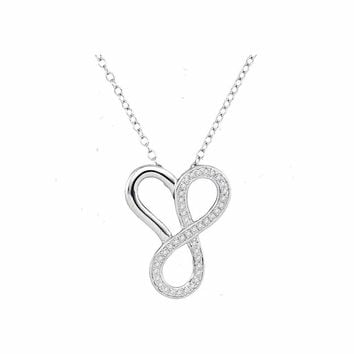 10kt White Gold Womens Round Diamond Heart Infinity Pendant Necklace 1/6 Cttw