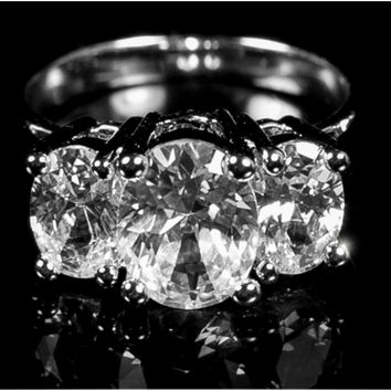 Jucinda Three Stone Oval Engagement Ring | 4ct | Cubic Zirconia | Sterling Silver