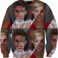 Justin Bieber and Miley Cyrus Sweater Sweatshirt Crewneck