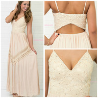 Gypsy Soul Ivory Floral Lace Maxi Dress