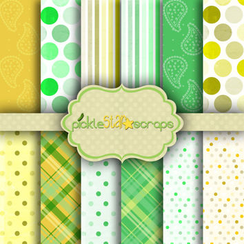 Confetti Lime & Lemon - 12 Digital Printable Scrapbook Papers -12x12inch - Patterned Bright Printable Backgrounds - INSTANT DOWNLOAD