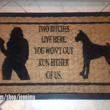 Two Bitches Boxer Door Mat