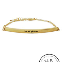 Never Give Up Bracelet with Charm by Kitsch {Gold}