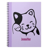 Cute Black and White Kitty Cat Waving Hello Custom Notebook