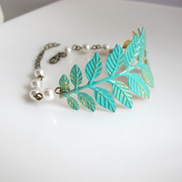 Verdigris Patina Brass Leaf Bracelet. White Pearl Wrist Cuff Bracelet. Shabby Chic Woodland Country Wedding, Bridal Bridesmaid Gift