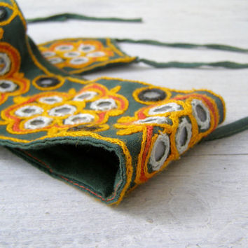 Bohemian Wide Applique Women Belt, Green Orange embroidered Fabric hippie Belt Retro 70s Fashion Indie Women wear M L Festival Accessories