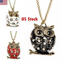 Cute Owl Crystal Chain Pendant Necklace