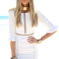 White Cut Out Sheathed Dress