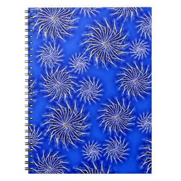 Spinning stars energetic pattern dark blue spiral notebook