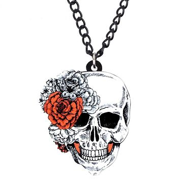 Skull Flower Necklace Punk Jewelry