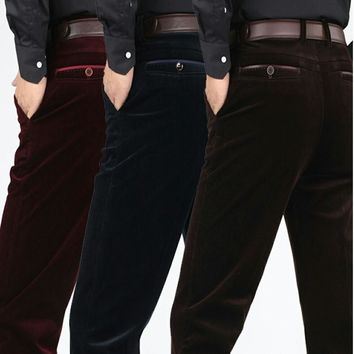 Corduroy trousers middle-aged men dad clothing 2017 autumn and winter men's loose casual corduroy pants warm pantalon homme