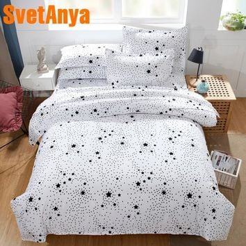 Svetanya Pillowcase+Blanket Cover 3pc Bedding Set (no Sheet) white Space Style Bedclothes Twin Full Queen Double King Size
