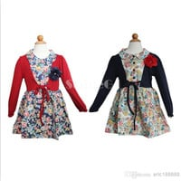 New Fashion 2014 Baby Kids Girl long sleeve Splicing Cotton Blended Clothing princess Dress Dresses For spring/autumn/winter