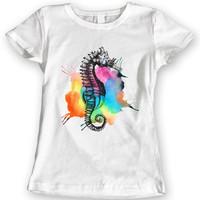 Rainbow Seahorse Summer 2016 T-Shirts Watercolor Ladies Gift Idea 100% Cotton