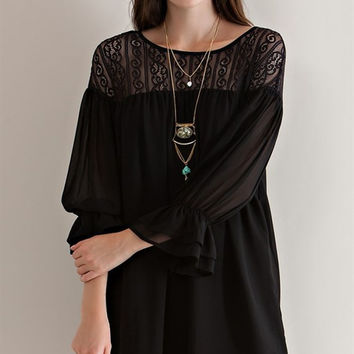 Chiffon Peasant Dress - Black