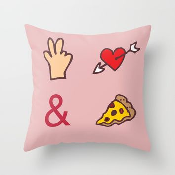 Peace, Love, Pizza Throw Pillow by Anonymous