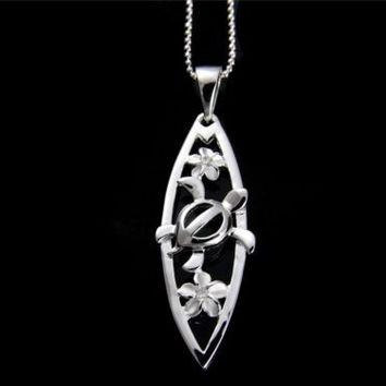 SILVER 925 HAWAIIAN PLUMERIA FLOWER HONU TURTLE CUT OUT SURFBOARD PENDANT CZ