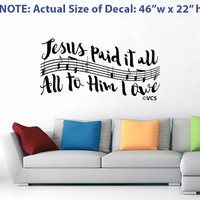 "LARGE ""Jesus Paid It All"" Wall Decal - Best Loved Hymns Series - 3 of 5"