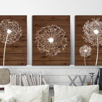 DANDELION Wall Art, Dandelion Wood Effect, Dandelion Nursery Art, Canvas or Prints, Farmhouse Bedroom Wall Decor, Bathroom Decor, Set of 3