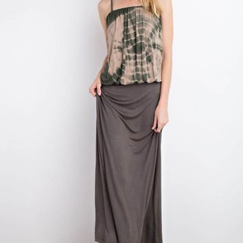 Tie-Dye Washed Square-Cut Neckline Maxi Dress