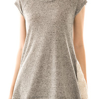 Heather Grey Crochet Trim Knit Top